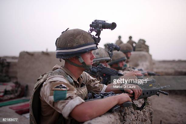 British Army soldier from the 3rd Battalion The Parachute Regiment looks on during strike operation Southern Beast on August 4 2008 in Maywand...