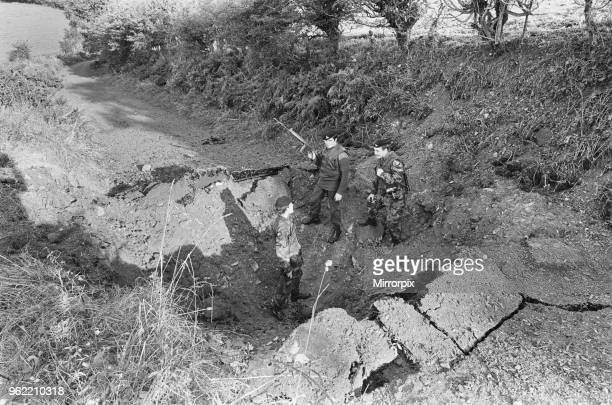 British army soldiers blow up an un approved road on the Northern Ireland border with the Republic of Ireland 13th October 1971