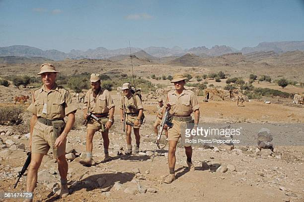British Army soldiers conduct a patrol in South Arabia during the Aden Emergency a period of unrest and insurgency in South Arabia or Yemen in...