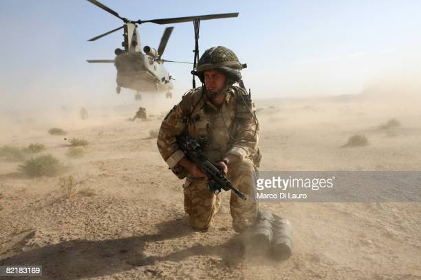 British Army soldiers from the 3rd Battalion The Parachute Regiment conduct strike operation Southern Beast on August 1 2008 in Maywand District in...