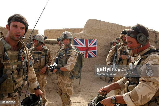 British Army soldiers from the 3rd Battalion The Parachute Regiment get ready to patrol during strike operation Southern Beast on August 4 2008 in...