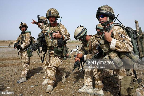 British Army soldiers from the 3rd Battalion The Parachute Regiment conduct strike operation Southern Beast on August 3, 2008 in Maywand District in...