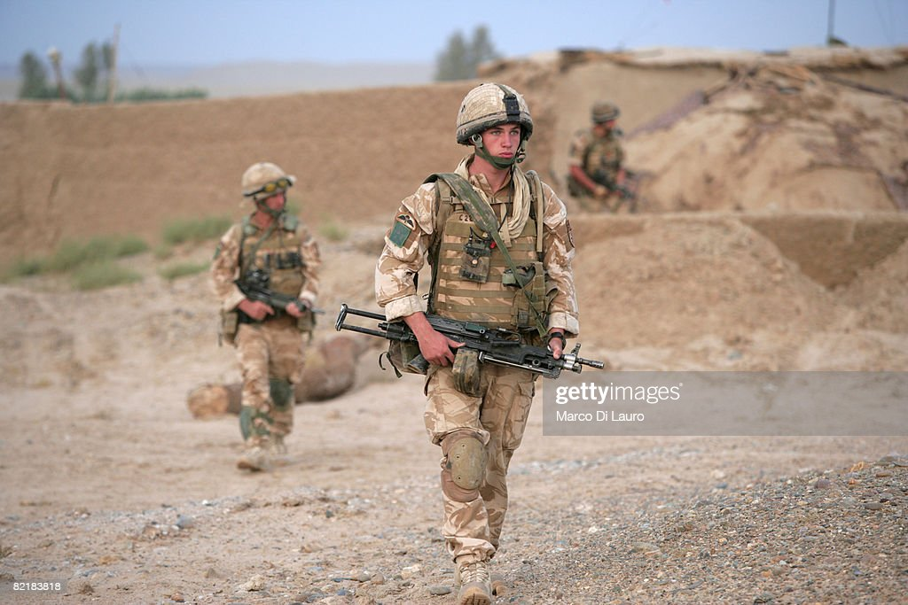 British Army soldiers from the 3rd Battalion The Parachute Regiment on patrol during strike operation Southern Beast on August 4, 2008 in Maywand District in Kandahar Province, Afghanistan. The British Army soldiers from the 3rd Battalion The Parachute Regiment spearheaded a strike operation in the Maywand District of the Kandahar Province, setting the conditions for a permanent ISAF presence to support the Afghan National Government in their fight against the Taliban. Striking within one of Afghanistan's major opium producing areas the Paratroopers were looking for weapons, drugs, and individuals related to the Taliban. During the operation about seventy kilograms of opium was seized and some weapons were recovered.