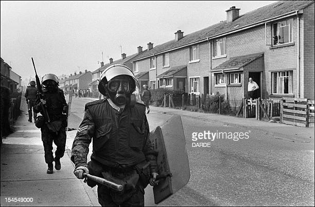 British army soldiers patrol 29 August 1971 in the Bogside quarter of the city of Londonderry during heavy clashes between the Catholic minority...