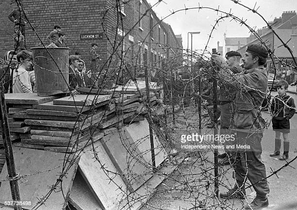 British Army troops dismantle a barricade on Lucknow Street in the wake of conflict that arose after the Battle of the Bogside Belfast Northern...