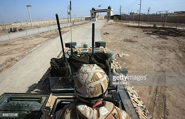 British Army Vector of the Queen's Royal Hussars approaches the Shalamcheh land border crossing at the IraqIran border on February 6 2009 in Iraq...