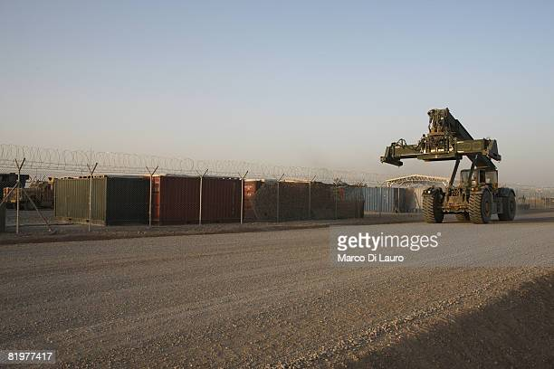 British Army vehicle used to move containers drives along the parking lot of the 13th Air Assault Support Regiment on July 15, 2008 at their base in...