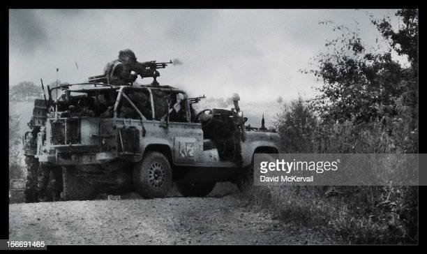 British Army WMIK landrover on a training exercise