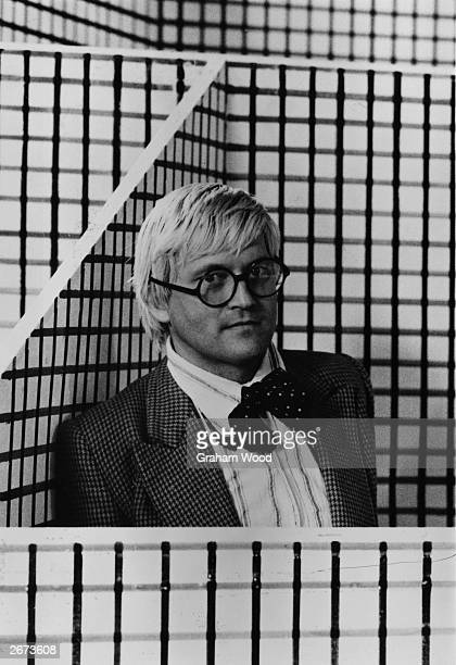 British artist David Hockney in the set of 'The Rake's Progress' which he designed for the Glyndebourne opera festival
