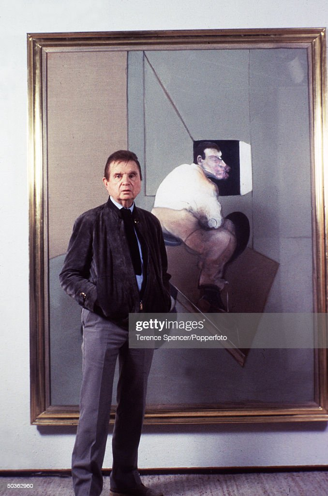 British Artist Francis Bacon standing in front of his painting Study For A Portrait of John Edwards at Marlborough Gallery.