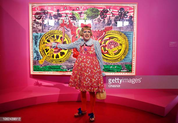 British artist Grayson Perry speaks to the media in front of his art work Selfie with political causes during a press visit of his exhibition Vanity...