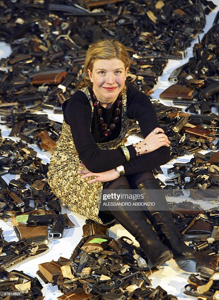 British artist Lucy Wood unveils her latest artwork 'Map 272183' at the Metropolitan Police Gun Crime Conference in London 02 December, 2004. The artwork measures 8 by 6.26 metres and is made up of a sizeable portion of the three thousand and eighty five weapons that were handed in under the Gun Amnesty of 2003 and destroyede.