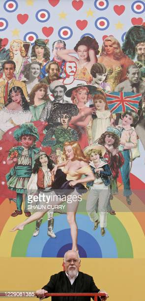 British artist Sir Peter Blake, best known for designing the sleeve for the cover of Sergeant Peppers Lonely Hearts Club Band by the Beatles, poses...