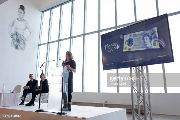 British artist Tracey Emin addresses guests during the launch event of the new twenty pound note design featuring late British painter JMW Turner, at...