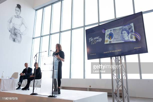 British artist Tracey Emin addresses guests during the launch event of the new twenty pound note at the Turner Contemporary gallery on October 10,...