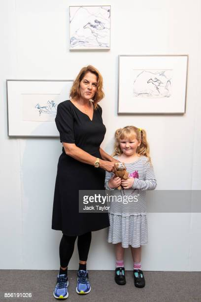 British Artist Tracey Emin poses with Grace Gandy age 8 in front of her 2017 works 'I wish for you' 'I was wishing for you' and 'Riding on waves'...