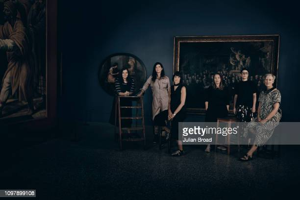 British artists Chantal Joffe Fiona Banner Cathie Pilkington Jenny Saville Eva Rothschild and Rebecca Salter are photographed for Harpers Bazaar...
