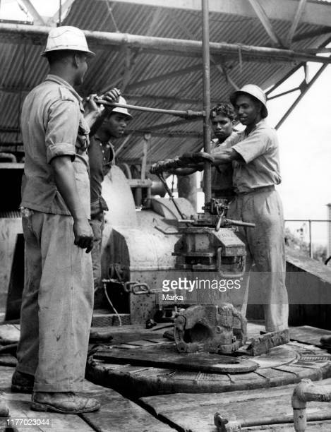 British asia. Brunei. Indian workers to oil rigs. 1953.