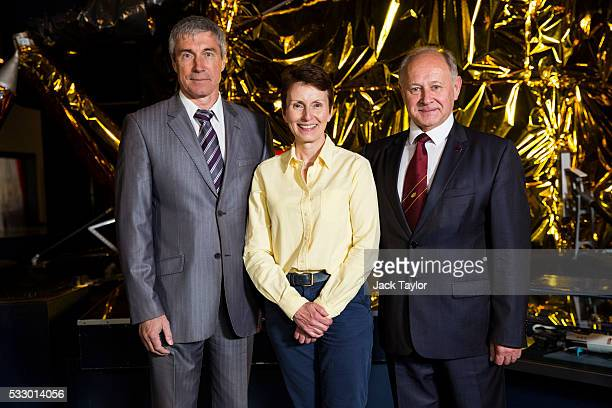 British astronaut Helen Sharman poses with her crew from the Soyuz TM11 mission Sergei Krikalev and Anatoli Artsebarski at an event to mark 25 years...