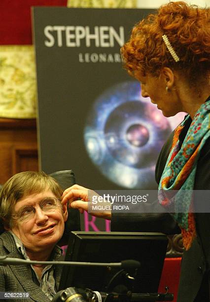 British astrophysicist Stephen Hawking smiles to his wife before the presentation of his new book A brief history of Time in Oviedo northern Spain 13...