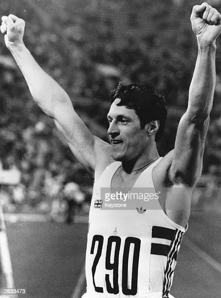 British athlete Allan Wells celebrating his victory in the 100 metres final at the Moscow Olympics Wells born in Edinburgh began competing in his mid...