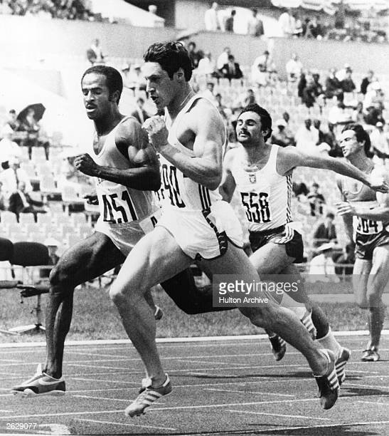 British athlete Allan Wells running against Jamaica's Donald Quarrie Poland's Krzysztof Zwolinski and Holland's Westbroek during their 100 metres...