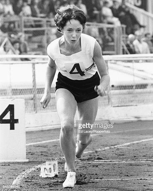 British athlete Ann Packer at the starting line of her race during a Great Britain versus Poland track and field meeting at White City Stadium London...