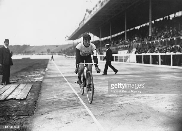 British athlete Benjamin Jones winner of the 5000 metre cycles race during the 1908 Summer Olympics in London July 1908