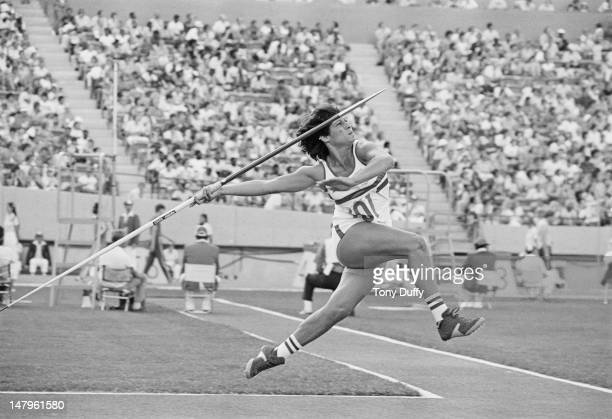 British athlete Fatima Whitbread competing in the javelin event during the Commonwealth Games at the Commonwealth Stadium Edmonton Canada 3rd12th...