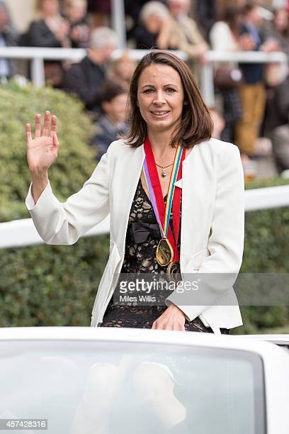 British Athlete Jo Pavey attends the BQIPCO British Champions Day 2014 at Ascot Racecourse on October 18 2014 in Ascot England