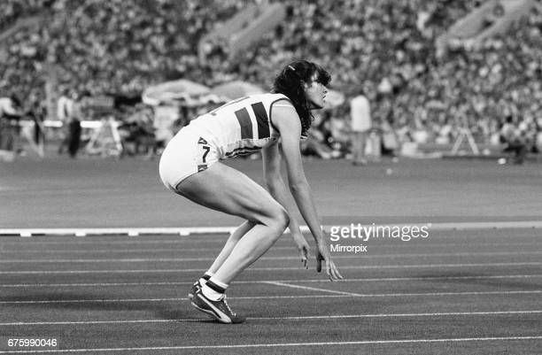 British athlete Kathy Smallwood dejected after failing to win in the Women's 200 metres Final at the Olympic Games in Moscow 2nd August 1980