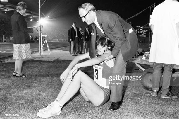British athlete Kathy Smallwood exhausted after winning the Women's 400 metres race at the Coca Cola Athletics meeting at Crystal Palace 17th...