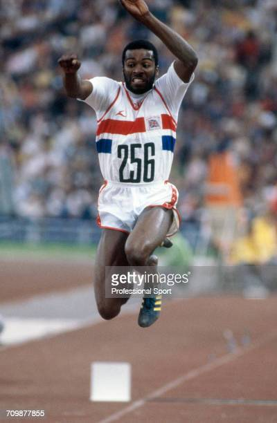 British athlete Keith Connor competes for the Great Britain team to finish in 4th place in the final of the Men's triple jump event at the 1980...