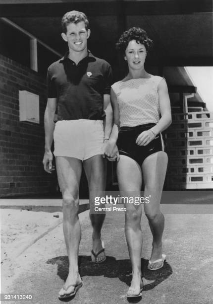 British athlete Robbie Brightwell with sprinter Ann Packer at the Empire Games village in Perth Australia after the announcement of their engagement...