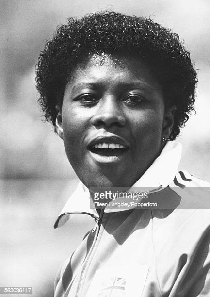 British athlete Tessa Sanderson pictured after winning the gold medal in the javelin event at the Olympic Games in Los Angeles August 1984