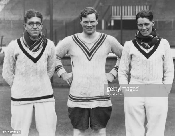 British athlete Tommy Hampson British athlete Guy Butler and British athlete Godfrey Rampling all wearing cricket jumpers Hampson and Rampling also...