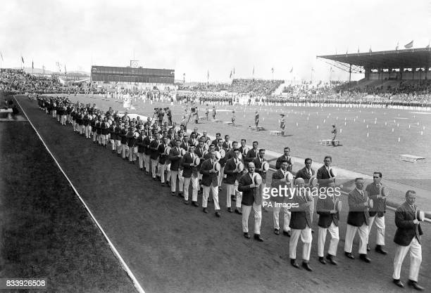 British athletes marching during the opening ceremony.