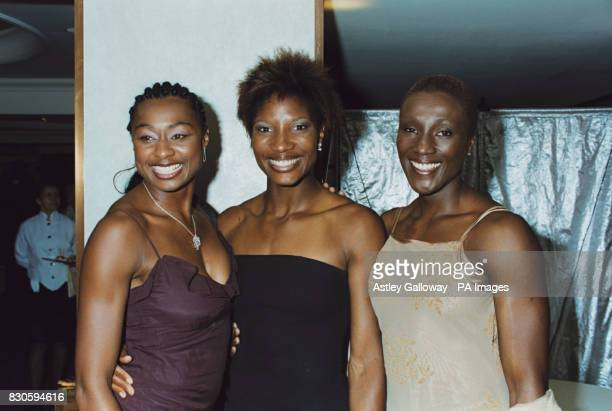 British athletes Michelle Griffith Denise Lewis and Jacqui Agyepong at the Jester Ball at Le Meridien Grosvenor House in aid of Action on Addiction