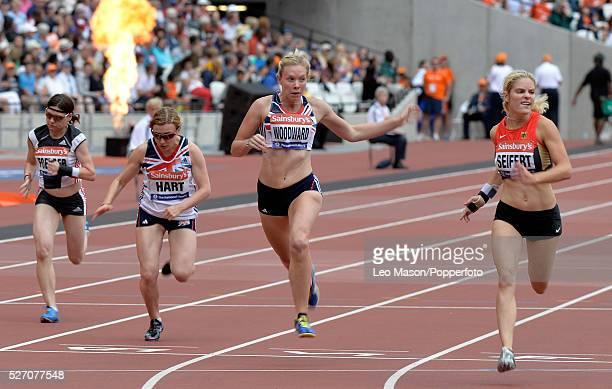 British Athletics Sainsbury's Para Challenge The Stadium Queen Elizabeth Olympic Park London UK 100m Women T37 Final Maria Seifert wins from Bethany...