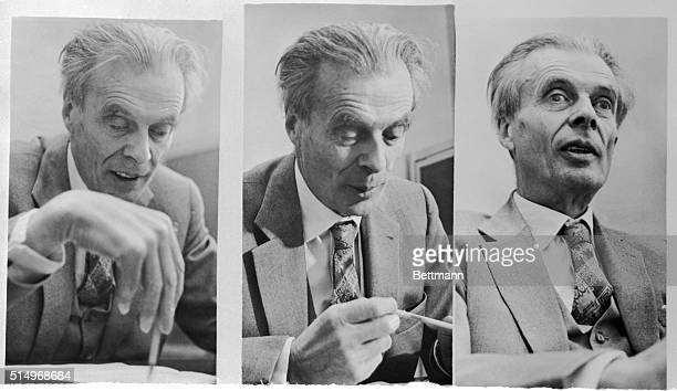 British author Aldous Huxley is shown addressing the University of California conference on A Pharmacological Approach to the Study of the Mind here...