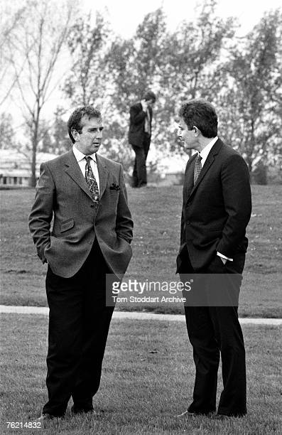 British author and journalist Robert Harris with Labour Party leader Tony Blair during a period when Blair gave Harris access Labour's election...