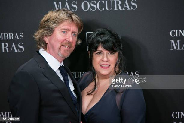 British author and producer EL James and husband Niall Leonard attend the 'Fifty Shades Darker' premiere at Kinepolis Cinema on February 8 2017 in...