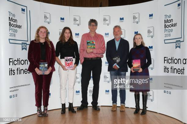 British author Daisy Johnson with her book 'Everything Under' US author Rachel Kushner with her book 'The Mars Room' US author Richard Powers with...