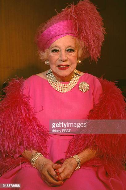 British author Dame Barbara Cartland at Galeries Lafayette in Paris for the promotion of cosmetics created by her friend, the Iranian Princess...