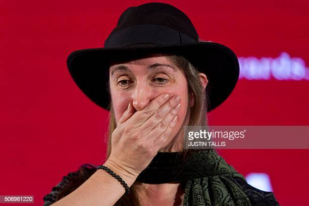 British author Frances Hardinge reacts after being awarded the overall winner of the Costa Book Awards 2015 for her Childrens Book 'The Lie Tree' in...