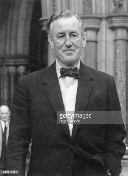 British author Ian Fleming creator of the James Bond series of spy novels during a lunch break in the case of McClory v Fleming at the High Court in...