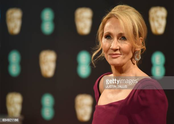British author J K Rowling poses upon arrival at the BAFTA British Academy Film Awards at the Royal Albert Hall in London on February 12 2017 / AFP...