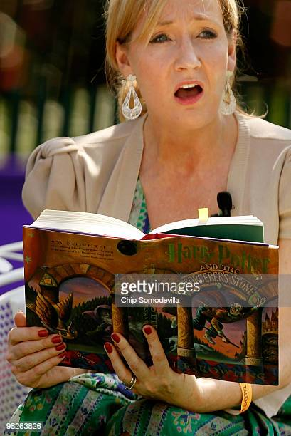 British author JK Rowling creator of the Harry Potter fantasy series reads from Harry Potter and the Sorcerer's Stone during the Easter Egg Roll on...