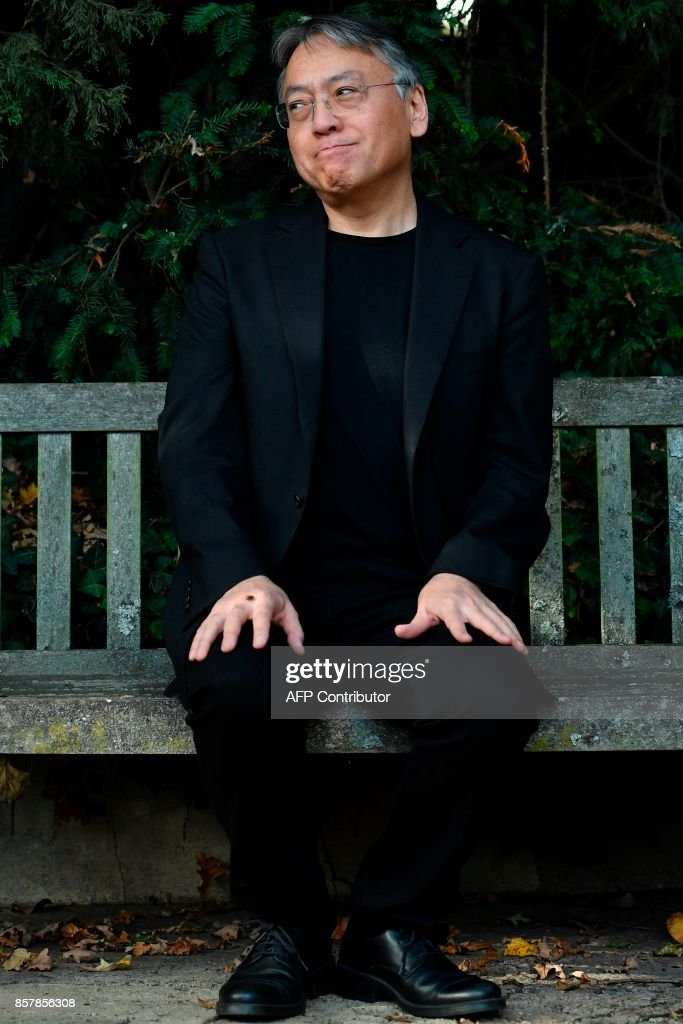 British author Kazuo Ishiguro holds a press conference in London after being awarded the Nobel Prize for Literature