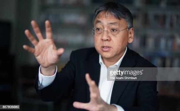 British author Kazuo Ishiguro speaks during the Asahi Shimbun interview on January 5 2013 in Tokyo Japan